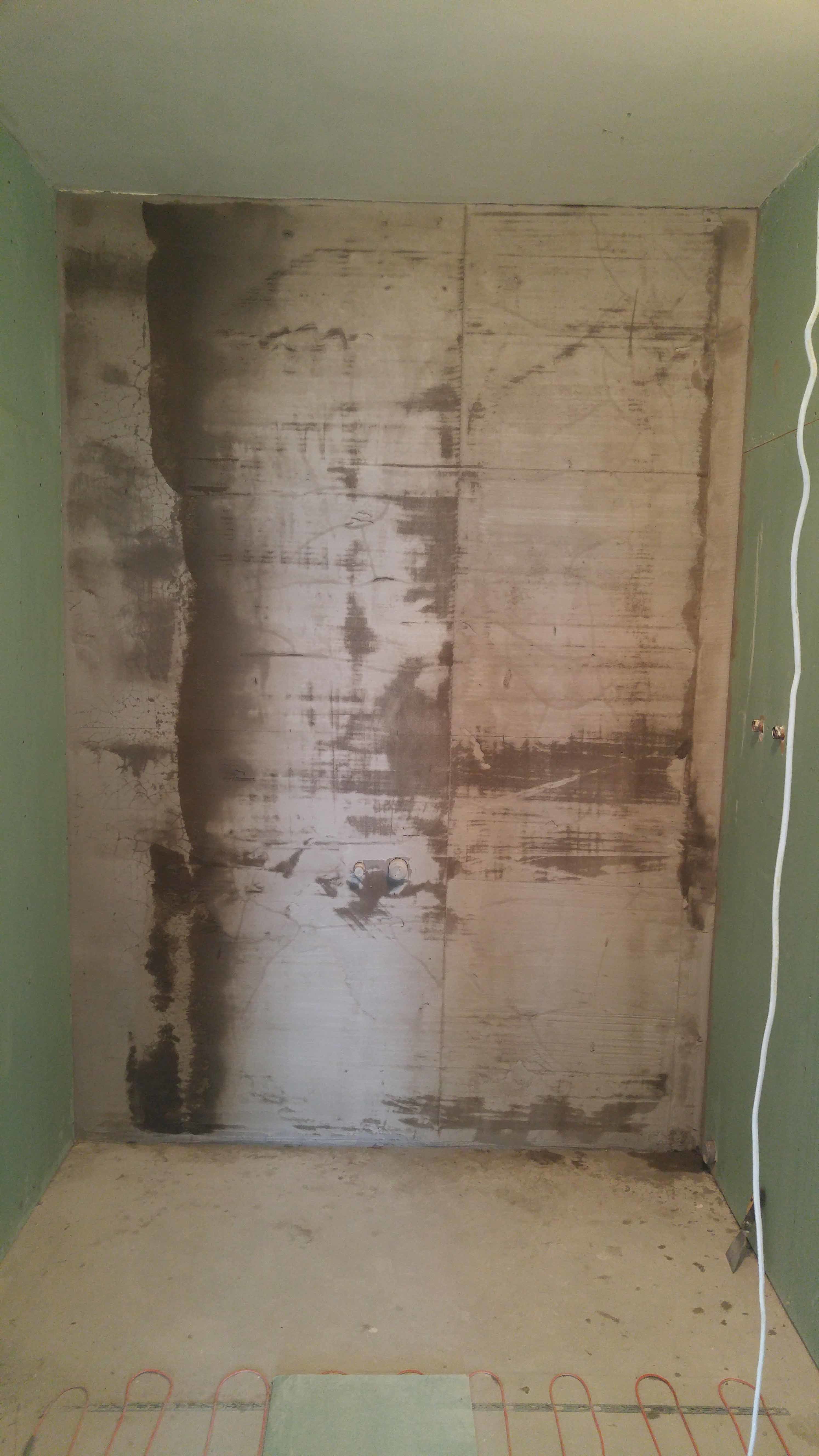 Санузел после подготовки стен